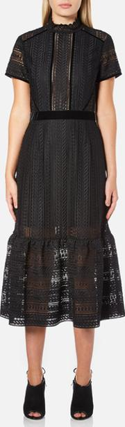 Perseverance , Women's Cable Lace Midi Dress With High Neck And Ribbon Details Black Uk 10