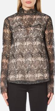 Perseverance , Women's Embroidered Paisley Top Bell Sleeves And High Neck Collar Blacknude Uk 12