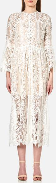 Perseverance , Women's Floral Tiered Lace Buttoned Cover Up Coat Off White Uk 12
