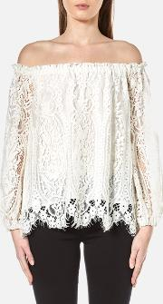 Perseverance , Women's Floral Tiered Lace Off The Shoulder Top Off White Uk 6