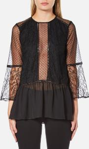 Perseverance , Women's Lace Top With Crop Flare Sleeve And Dobby Mesh Inserts Black Uk 12