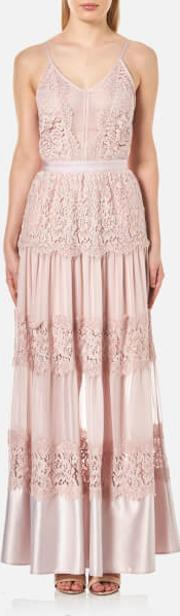 Perseverance , Women's Scallop Cotton Lace Panelled Strappy Maxi Gown Dusty Pink Uk 6