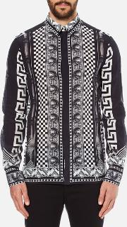 Versus Versace , Men's Printed Long Sleeve Shirt Blackwhite Xxlit54