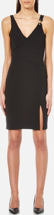 Versus Versace , Women's V Neck Dress With Side Slit Black Eu 40uk 8