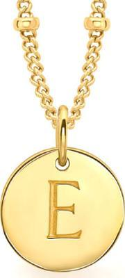 Missoma , Women's Initial Charm Necklace E Gold