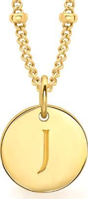 Missoma , Women's Initial Charm Necklace J Gold