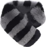Charlotte Simone , Women's Candy Stripe Cuff Faux Fur Scarf Blackdove Grey