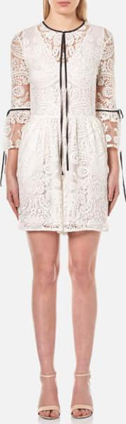 Perseverance , Women's Rose Embroidery Lace Contrast Tie Playsuit White Uk 8
