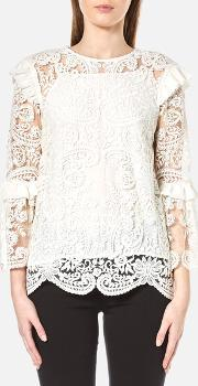 Perseverance , Women's Rose Embroidery Lace Tie Back Blouse Off White Uk 10