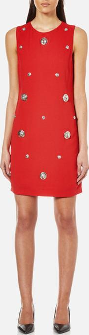 Versus Versace , Women's Studded Shift Dress Fire Eu 40uk 8