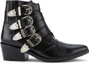 Toga Pulla , Women's Buckle Side Leather Heeled Ankle Boots Black Leather Uk 3