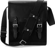 Aspinal Of London , Men's Shadow Small Messenger Bag Black Ebl
