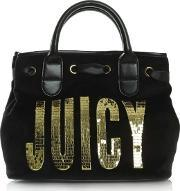 Juicy Couture , Flag Surf Rider Black Velour Satchel