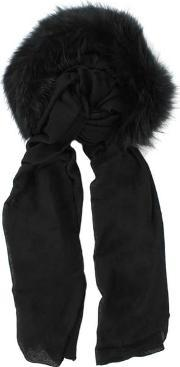 Charlotte Simone , Raccoon Fur Black Wool Hooded Scarf