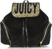 Juicy Couture , Pretty Velour Blackglitter Backpack