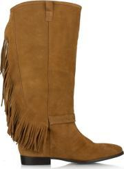 Df By Daniel , Riverdale Tan Suede Fringed Knee Boot