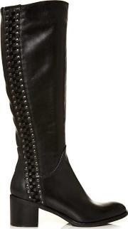 Moda In Pelle , Simone Black Leather Studded Riding Boot