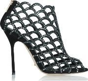 Sergio Rossi , Black Suede Womens Caged Ankle Boot