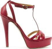 Mani Per Donna Piu , Red Leather High Platform T Bar Sandal