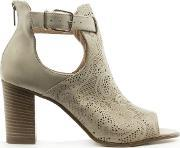 Donna Piu , Taupe Leather Peep Toe Cut Out Ankle Boot