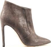 Suede , Greymouth Taupe Metallic Pointed Toe Ankle Boot