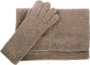 Ugg , Luxe Stormy Grey Heather Matching Scarf & Glove Set