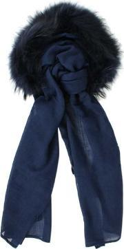 Charlotte Simone , Raccoon Fur Navy Wool Hooded Scarf