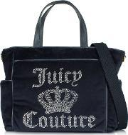 Juicy Couture , Juciy Crown Navy Velour Baby Bag