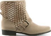 Via Uno , Nude Perforated Ankle Boot