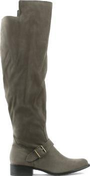 Via Uno , Grey Ankle Strap Knee Boot