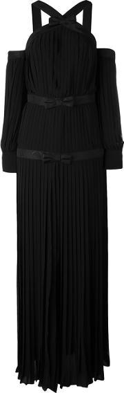 Alessandra Rich , Pleated Bow Evening Dress Women Silkpolyester 44, Women's, Black