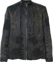 By Walid , Embroidered Bomber Jacket Men Silkcotton Xl, Black