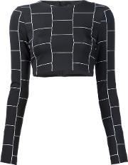 Christian Siriano , Cropped Check Print Top Women Acetate 6, Women's, Black