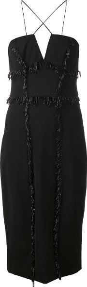 Cushnie Et Ochs , Bead Embroidered Fringed Dress