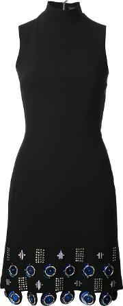 David Koma , Metal Circle Applique Dress Women Acrylicspandexelastaneacetateviscose 8, Women's, Black