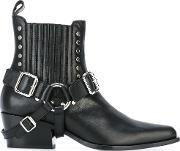 Diesel Black Gold , Buckled Ankle Boots Women Calf Leatherleather 37, Women's