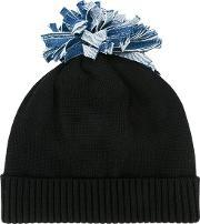 Federica Moretti , 'denim Pom Pom' Beanie Women Cotton One Size, Women's, Black