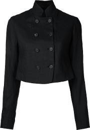 Forme Dexpression , Forme D'expression Double Breasted Cropped Jacket Women Linenflax 42, Women's, Black