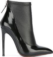 Gianni Renzi , Contrast Pointed Ankle Boots Women Leatherpatent Leather 39, Women's, Black