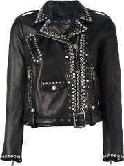 Htc Hollywood Trading Company , Studded Biker Jacket Women Leatherviscosemetal M, Women's, Black