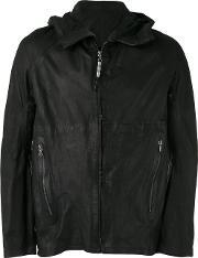 Isaac Sellam Experience , Hooded Leather Jacket Men Leather Xl, Black