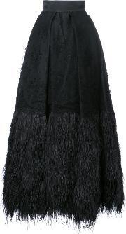 Isabel Sanchis , Embroidered Plume Trimmed Ball Skirt Women Polyesteracetate 40, Women's, Black