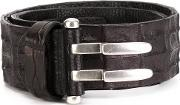 Ivo Scunzani , 'nilocitus' Double Slip Fastening Belt Men Crocodile Leather 85, Black