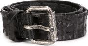 Ivo Scunzani , 'niloticus' Buckle Belt Men Crocodile Leather 105, Black