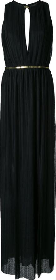 Jay Ahr , Plisse Evening Gown Women Polyester 38, Women's, Black