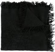 Kazuyuki Kumagai , Frayed Edge Scarf Men Silkrayon One Size, Black