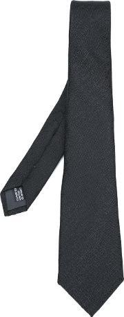 Lanvin , Woven Contrast Pattern Tie Men Silk One Size, Black
