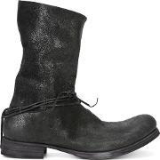 Ma , Silver Tone Ringed String Boots Men Buffalo Leather 44, Black
