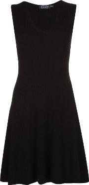 Magaschoni , V Neck Flare Dress Women Cashmere M, Women's, Black