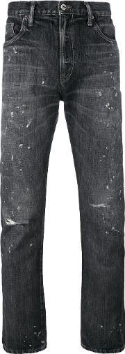 Neighborhood , Ripped Knees Tapered Jeans Men Cotton Xl, Black
